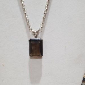 Jewelry - Smokey quartz necklace, .925 Italy